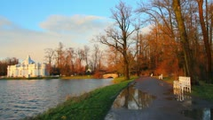 Pond in Pushkin Park, Tsarskoye Selo, St. Petersburg Stock Footage