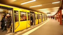 Train on an underground station in Berlin  Stock Footage