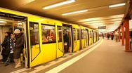 Stock Video Footage of Train on an underground station in Berlin