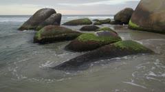Ocean waves at rocks. Tayrona, Colombia Stock Footage