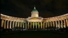 Kazan Cathedral at night in St. Petersburg Stock Footage