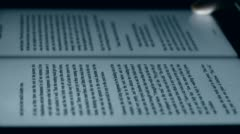 English Book on touch screen tablet computer ipad,Copy paste highlight flip and Stock Footage