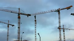 working construction cranes - timelapse - stock footage