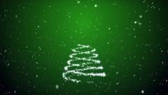 Growing fur-tree and snowflakes on a green background Stock Footage