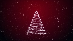 Growing fur-tree and snowflakes on a red background Stock Footage