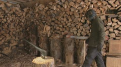 Injury in Woodshed Due to Carelessness Stock Footage