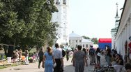 Stock Video Footage of Market on central plaza in Suzdal city