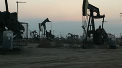 Oil Rig Field at Sunset - stock footage
