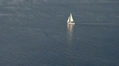 Sailing yacht on blue ocean pattern Stock Footage