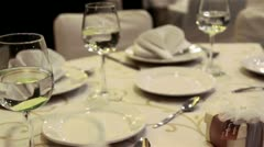 Wedding table for banquet Stock Footage