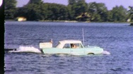 Stock Video Footage of Boat  Amphibious Car Drives Across Lake 1960s Vintage Film Home Movie 1938