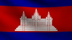 Cambodia flag. Stock Footage