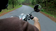 Riding Motorcycle in natural park Stock Footage