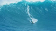 Stock Video Footage of surfer riding gaint wave