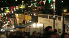 Crowd Street by night panning Stock Footage
