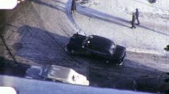 Car Turns Corner Snowy Snow City Street Winter 1940 Vintage Film Home Movie 1942 - stock footage