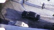 Car Turns Corner Snowy Snow City Street Winter 1940 Vintage Film Home Movie 1942 Stock Footage