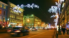 Nevsky Prospect in St. Petersburg at Christmas night - timelapse Stock Footage