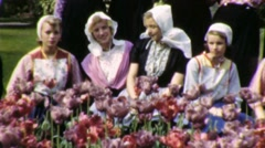Pretty Blond Dutch Girls Traditional Costume 1950s Vintage Film Home Movie 1944 Stock Footage