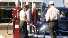 Attendant Pumping Gas at Service Station Fill 1940s Vintage Film Home Movie 1947 Stock Footage
