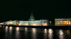 Kunstkammer on the Neva in St. Petersburg at night Stock Footage