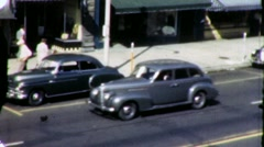 Cars on Main Street USA Scene 40s Holland Michigan Vintage Film Home Movie 1950 Stock Footage