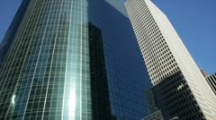 Driving past tall downtown buildings Houston Stock Footage