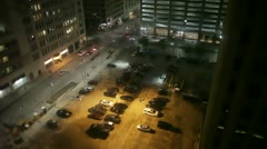 Downtown parking lot at night Stock Footage