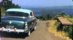Chevy Drives Over Hilltop Chevrolet Classic CAR Vintage Film Home Movie 1954 Stock Footage
