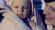 Stock Video Footage of New MOTHER NEW BABY Girl Motherhood Love Hold 1940s Vintage Film Home Movie 1958