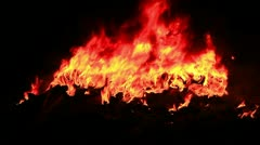 Large fire at night - stock footage