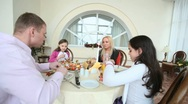 Together at festive dinner Stock Footage