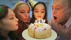 Blowing candles Stock Footage