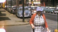 Stock Video Footage of Old Woman in City Street Scene Circa 1965 (Vintage Film Home Movie) 1966