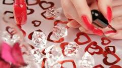 Manicure,diamonds ,hearts. HD Stock Footage