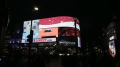 Piccadilly Circus London at night Stock Footage