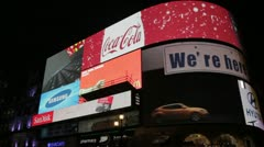 Bright LED advertisements in Piccadilly Circus London Stock Footage
