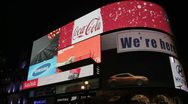 Stock Video Footage of Bright LED advertisements in Piccadilly Circus London