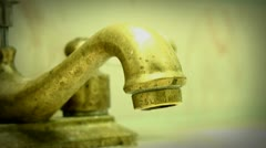 Slow Dripping Water Tap (Vignette Layer) Stock Footage