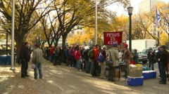 People lined up for streat church meal Calgary, Alberta Stock Footage