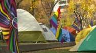 Protest, Occupy (wall street) Calgary tents medium shot Stock Footage
