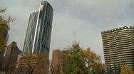 Politics and Protest, Occupy (wall street) Calgary tents tilt down from tower Stock Footage
