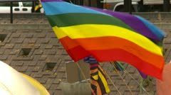 protest, Occupy (wall street) Calgary tents flags, rainbow flag - stock footage