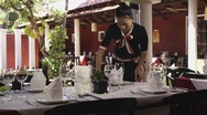 Stock Video Footage of Beautiful Asian waitress working in restaurant