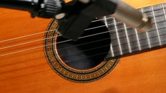 Classical guitar sound check Stock Footage