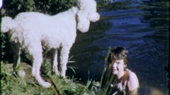Little Girl Swimming  Pet Poodle Dog 1960s Vintage Film Home Movie 1979 Stock Footage