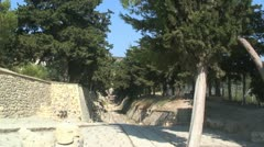 Theater area & Royal Road, Minoan Palace of Knossos, Island Crete, Greece Stock Footage