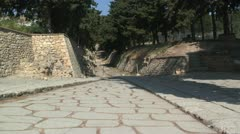 Theater area & Royal Road, Minoan Palace of Knossos, Island Crete, Greece Stock Footage