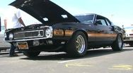 Low Angle Ford Mustang GT 500 at Car Show Stock Footage
