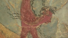 Minoan wall painting (fresco)  bull leaping, Palace of Knossos, Crete, Greece Stock Footage